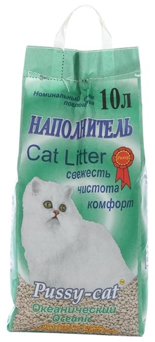 Pussy-Cat Океанический, 10 л - с защитой от запаха, антибактериальный, ароматизированный