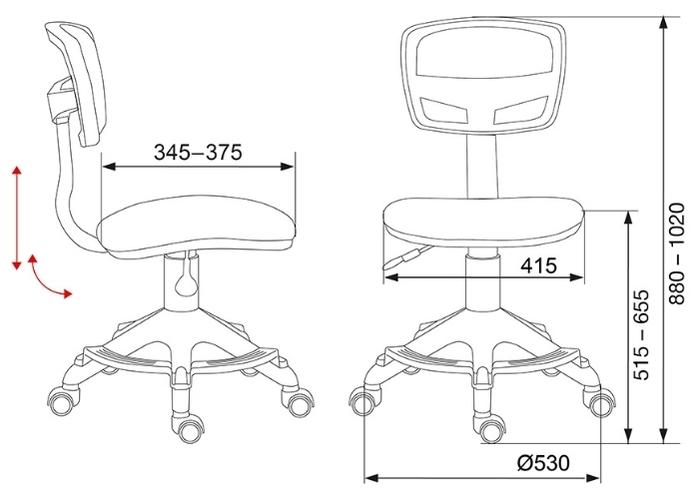Бюрократ CH-299-F детское - Глубина сиденья: от 34.50до 37.50см