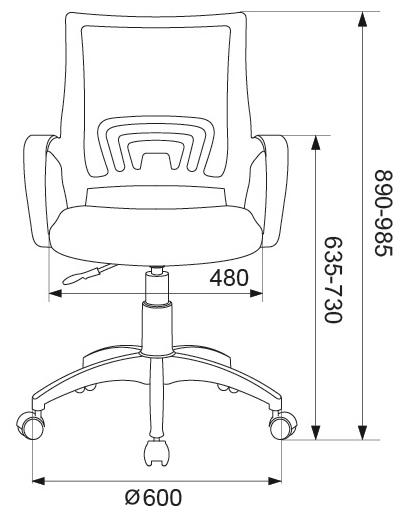 Бюрократ CH-695NLT офисное - Высота кресла: от 89до 98.50см