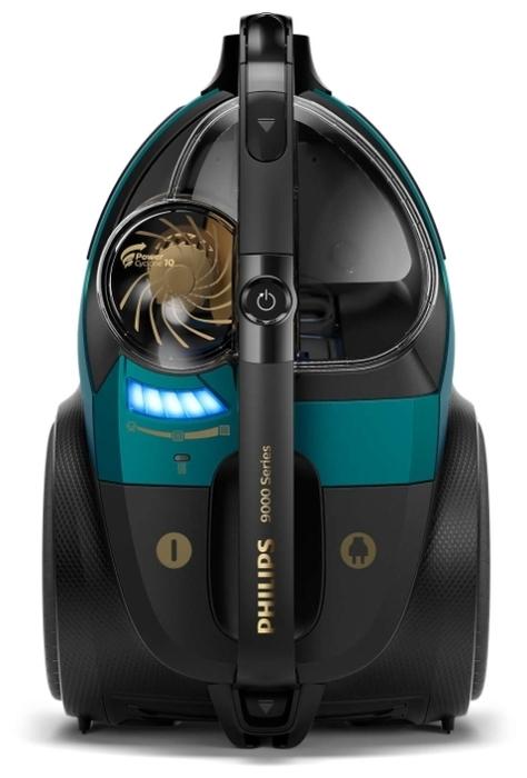 Philips XB9185/09 - особенности: индикатор заполнения пылесборника, управление мощностью на рукоятке