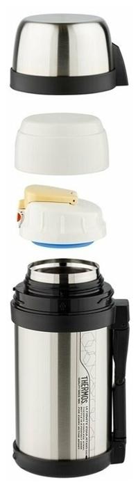 Thermos FDH-1405, 1.4 л - особенности: вакуумный, ручка на корпусе, крышка-чашка, ремень для переноски, нескользящее дно
