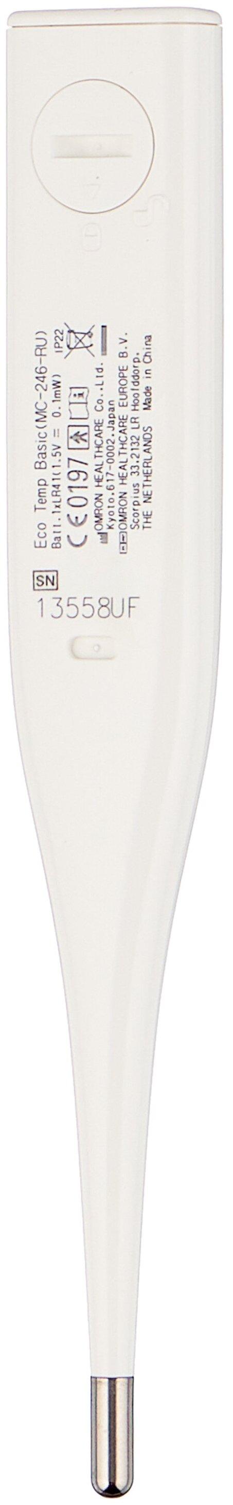 Omron Eco Temp Basic - особенности: водонепроницаемый, звуковой сигнал, память измерений, автоотключение, футляр в комплекте