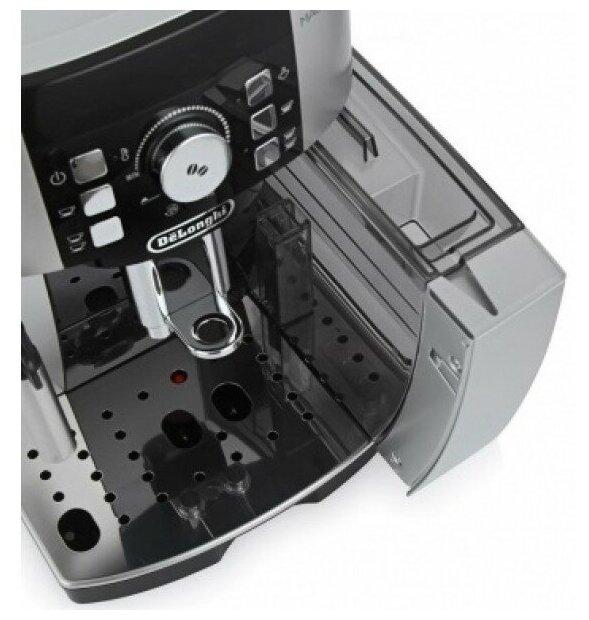 De'Longhi Magnifica S ECAM 21.117 - особенности конструкции: индикатор уровня воды, съемный лоток для сбора капель, контейнер для отходов, индикатор включения