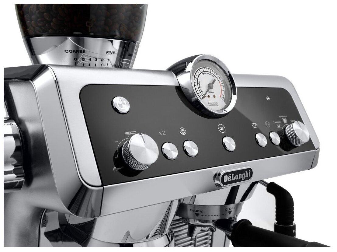 De'Longhi La Specialista EC 9335.M - особенности конструкции: индикатор уровня воды, раздельные бойлеры, съемный лоток для сбора капель, индикатор включения
